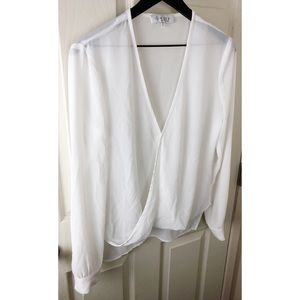 Wayf wrap front blouse white medium